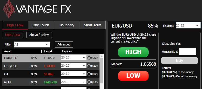 Vantage fx binary options platform